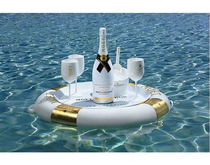 This Moët & Chandon Floating Bar is Shaped like a Tube with Gold Accents #luxury trendhunter.com