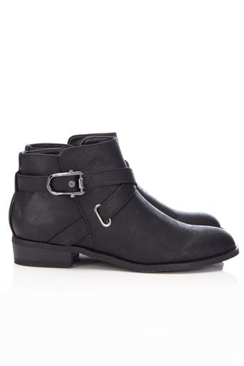 Black Flat Boot with Trim