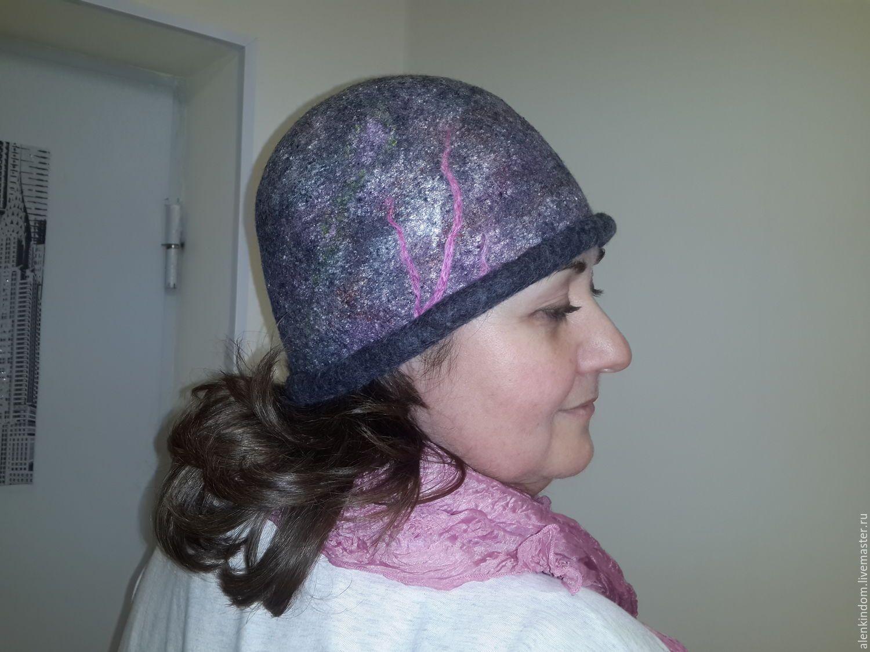 Купить Шапка-шляпка. - темно-серый, абстрактный, шапка, шляпка, шляпа, шапка женская