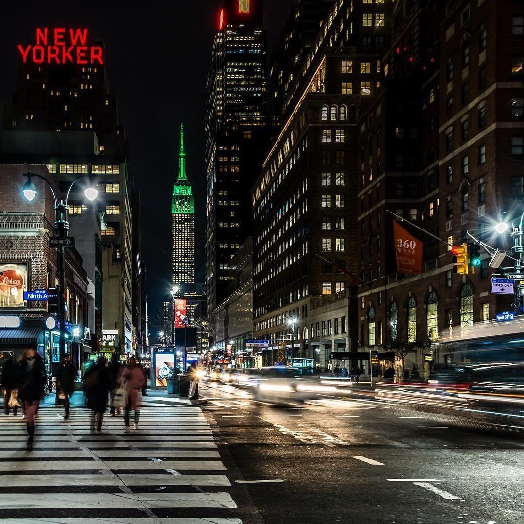 Nycgo On Instagram On The Corner Of 42nd Street Ninth Avenue Manhattan Javan Newyorkcity Seeyourcity Nyc Trip Nyc At Night Scenic Views