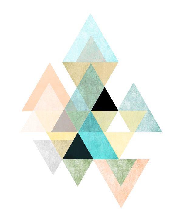 Triangle Print, Printable Art, Geometric Art, Scandinavian ...