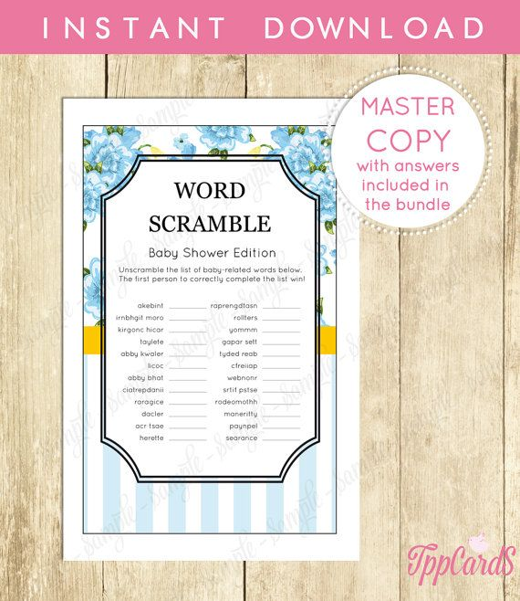 Instant Download Floral Baby Shower Word Scramble High Tea Word - how to word baby shower invitations