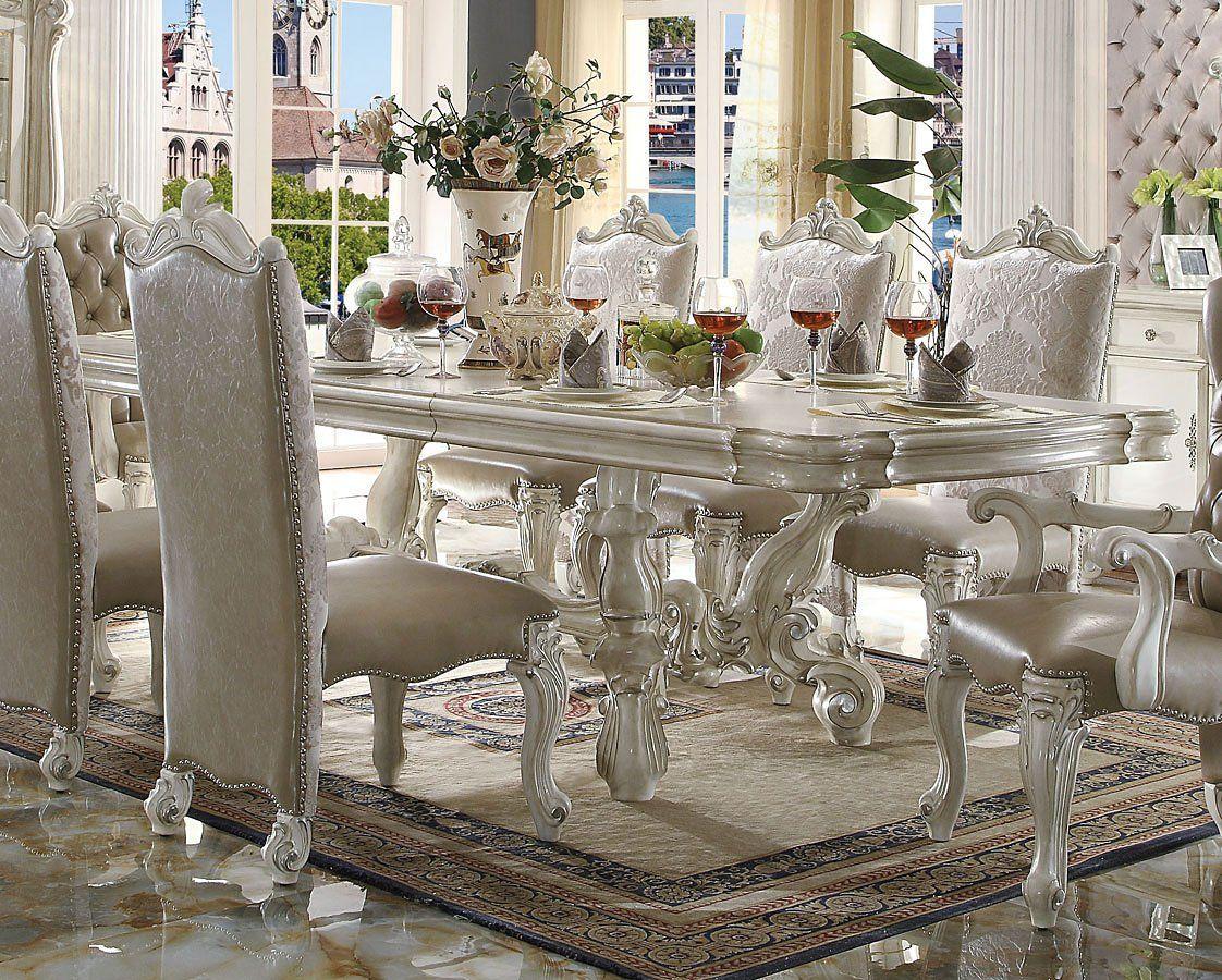Versailles 120 Inch Dining Table Bone White White Side Chair Side Chairs Dining Side Chairs #versailles #living #room #set
