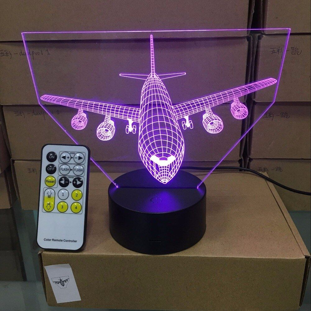 Remote Control Aircraft Airplane 3d Light Led Table Lamp Illusion Night Light In 2020 Mood Lamps Led Table Lamp Usb Lamp