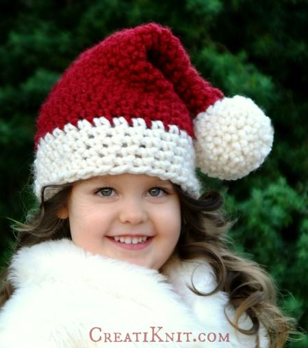 2 FREE Santa Hat Patterns...in Knit & Crochet! Santa hat, Free crochet ...