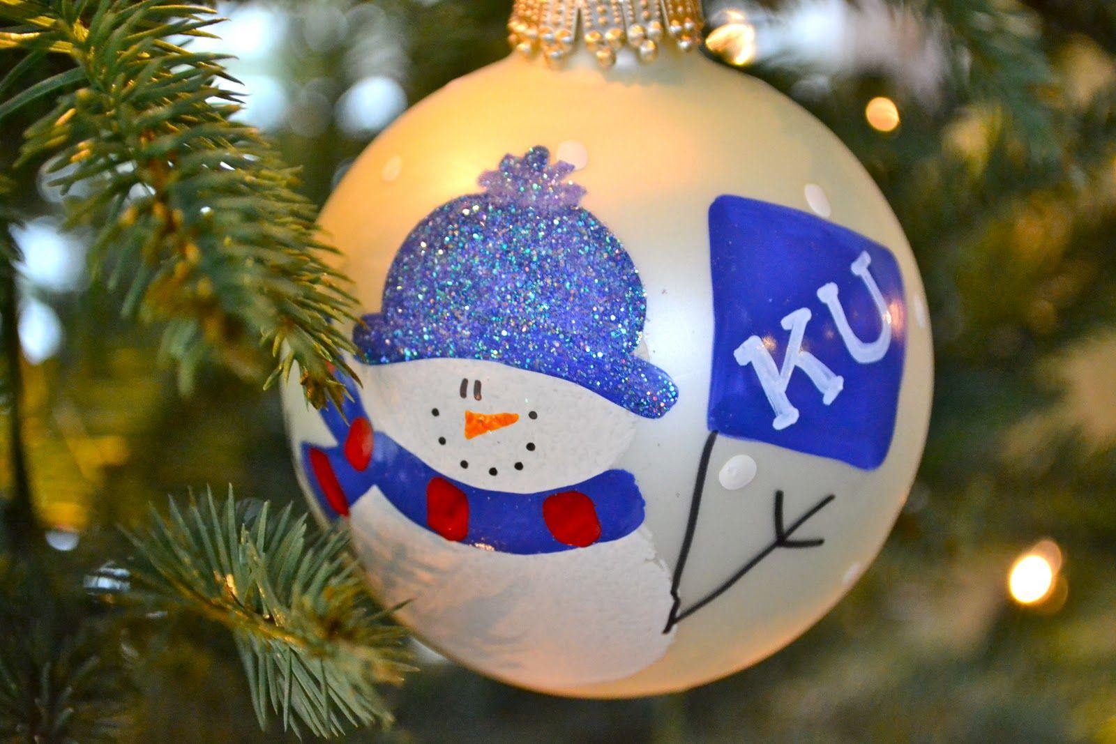 Personalized snowman glitter ornament ISU or Duke