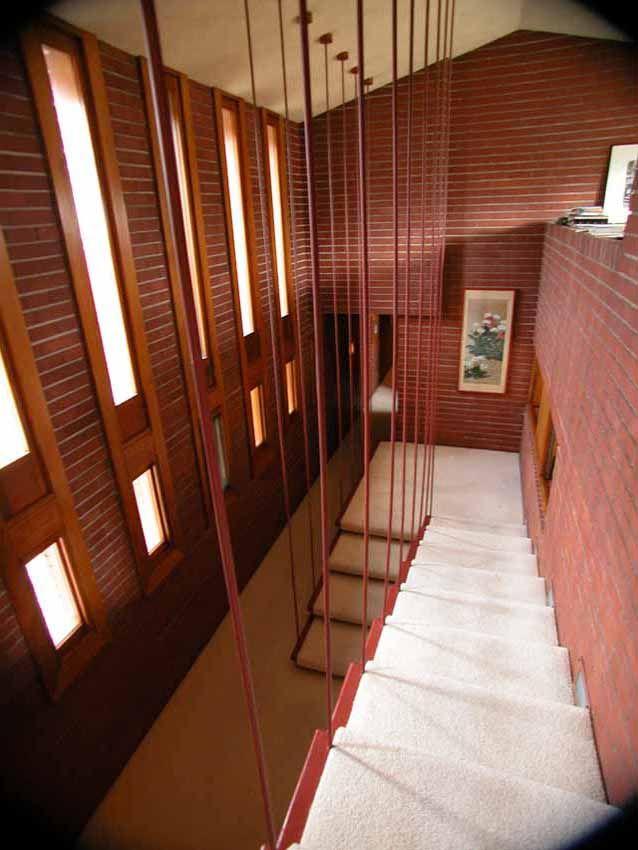 Perfect Herman T. Mossberg Residence. 1948. South Bend, Indiana. Usonian Style.  UsonianSouth BendFrank Lloyd Wright BuildingsFloating StairsHouse ...