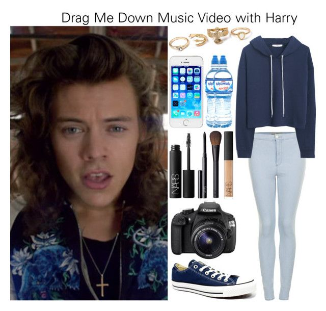 """Drag Me Down Music Video with Harry"" by beatriz2002 ❤ liked on Polyvore featuring Topshop, MANGO, Converse, Mineral, NARS Cosmetics and Eos"