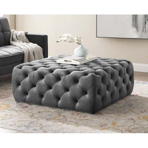 Silver Grey Velvet Totally Tufted Square Ottoman Coffee Table Square Ottoman Large Square Ottoman Tufted Ottoman
