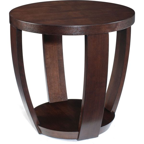 Magnussen Home Furnishings Sotto Sienna Wood Round Open End Table 260 Liked On Polyvore Featuring Furniture Tables Accent Brown