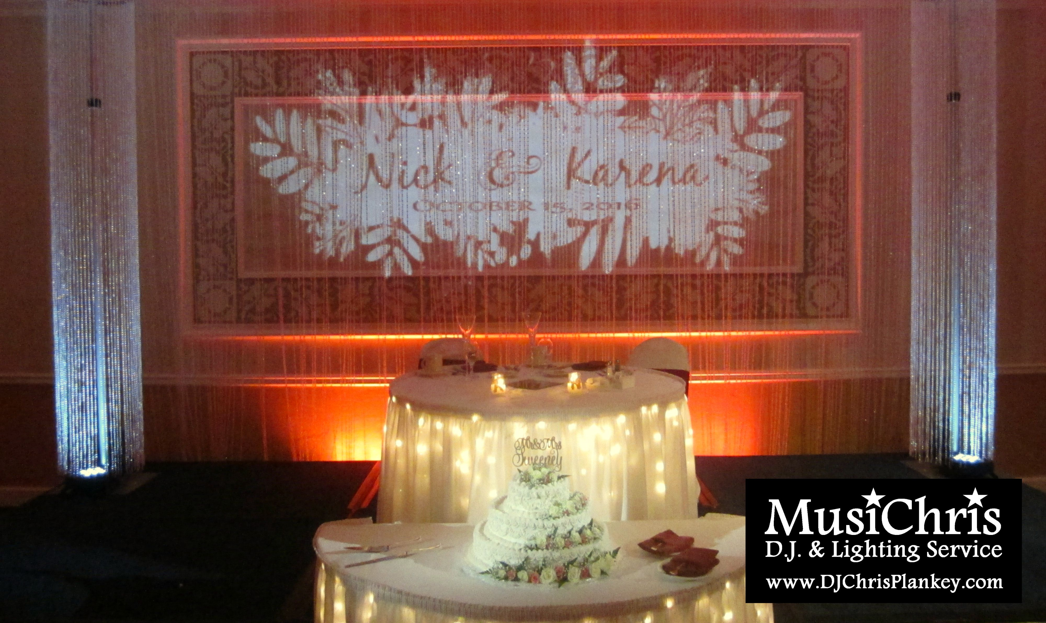 Fall wedding lighting Autumn uplighting crystal columns and