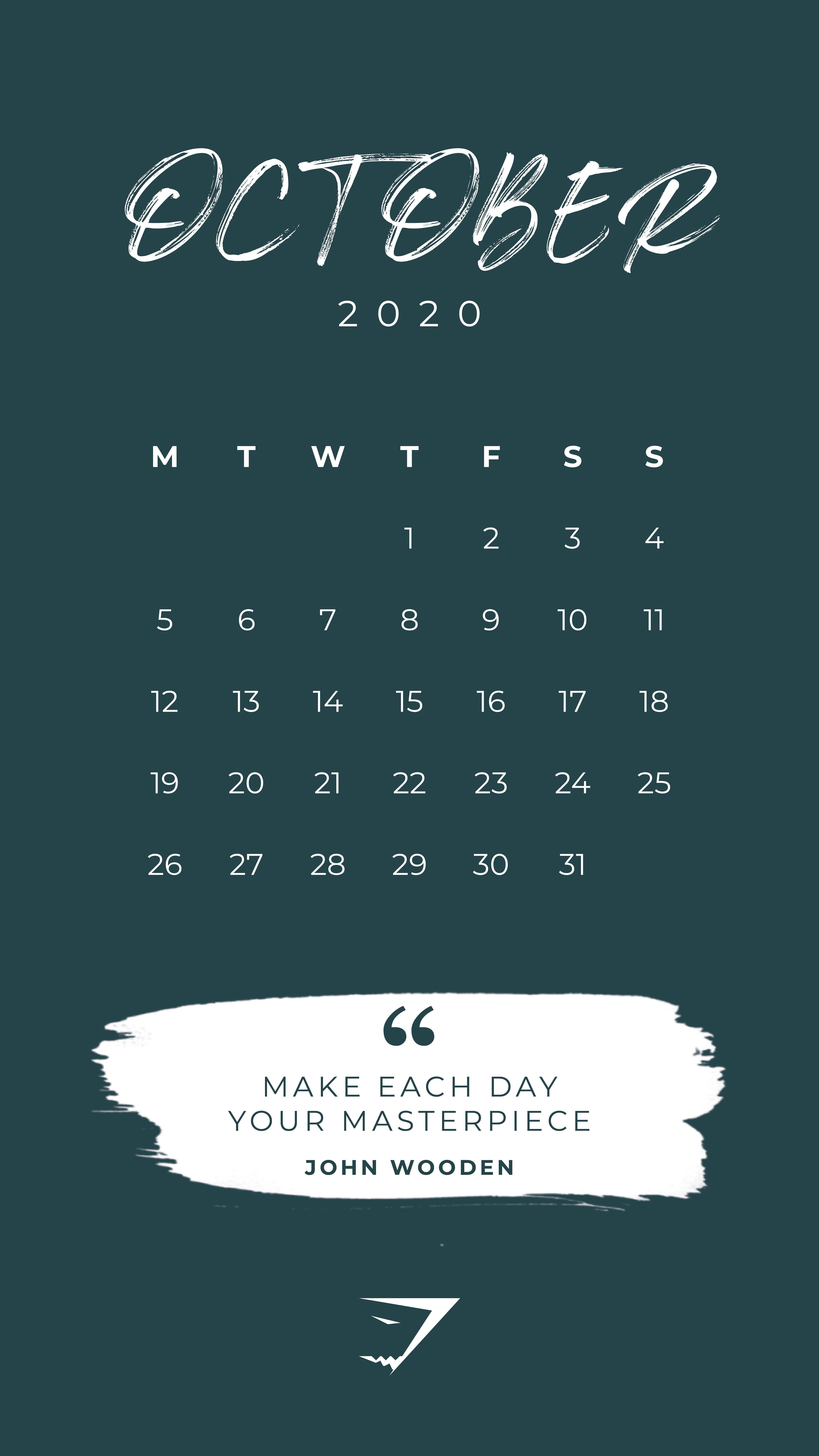 The Official Gymshark Calendar October 2020. Plan your
