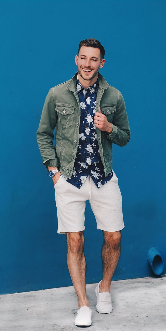 Simple Green Jean Jacket With Shorts Summer Men Style Fashion