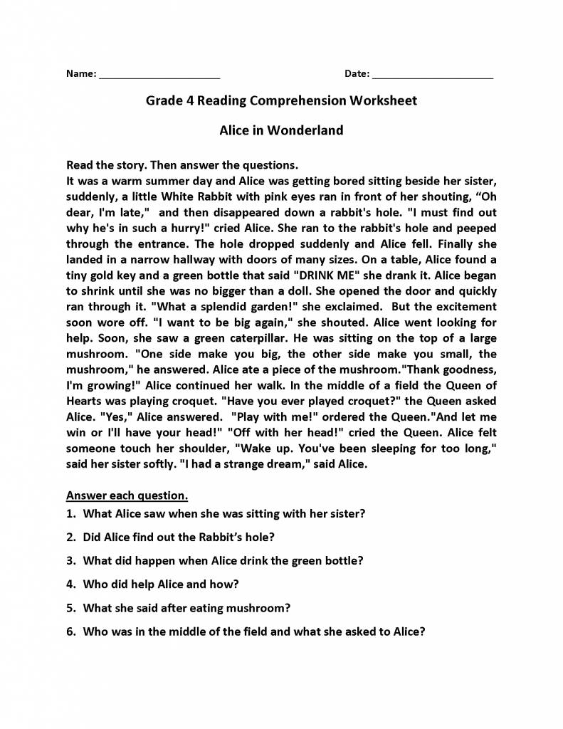 - 4th Grade Reading Comprehension Worksheets In 2020 Reading