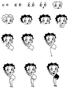 how to draw betty boop step by step with pictures  Google Search