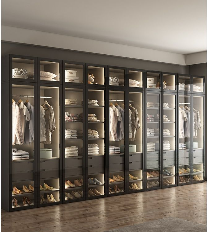 LED Lighting Dress Closet, Armoire with Glass Door / Bespoke Fitted Dressing Room