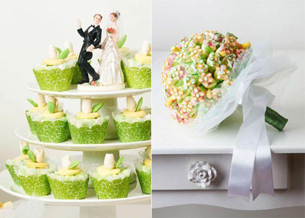 Casamento, bouquet de balas e marshmallows e cup marsh de botões de rosa
