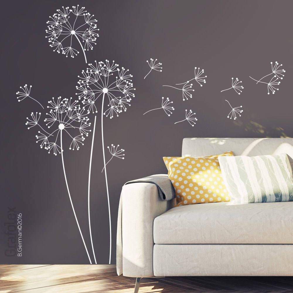 Wandtattoo Pusteblume Schlafzimmer Wall Decals Flower With Seed 151 Cm High Dandelion Wall Sticker