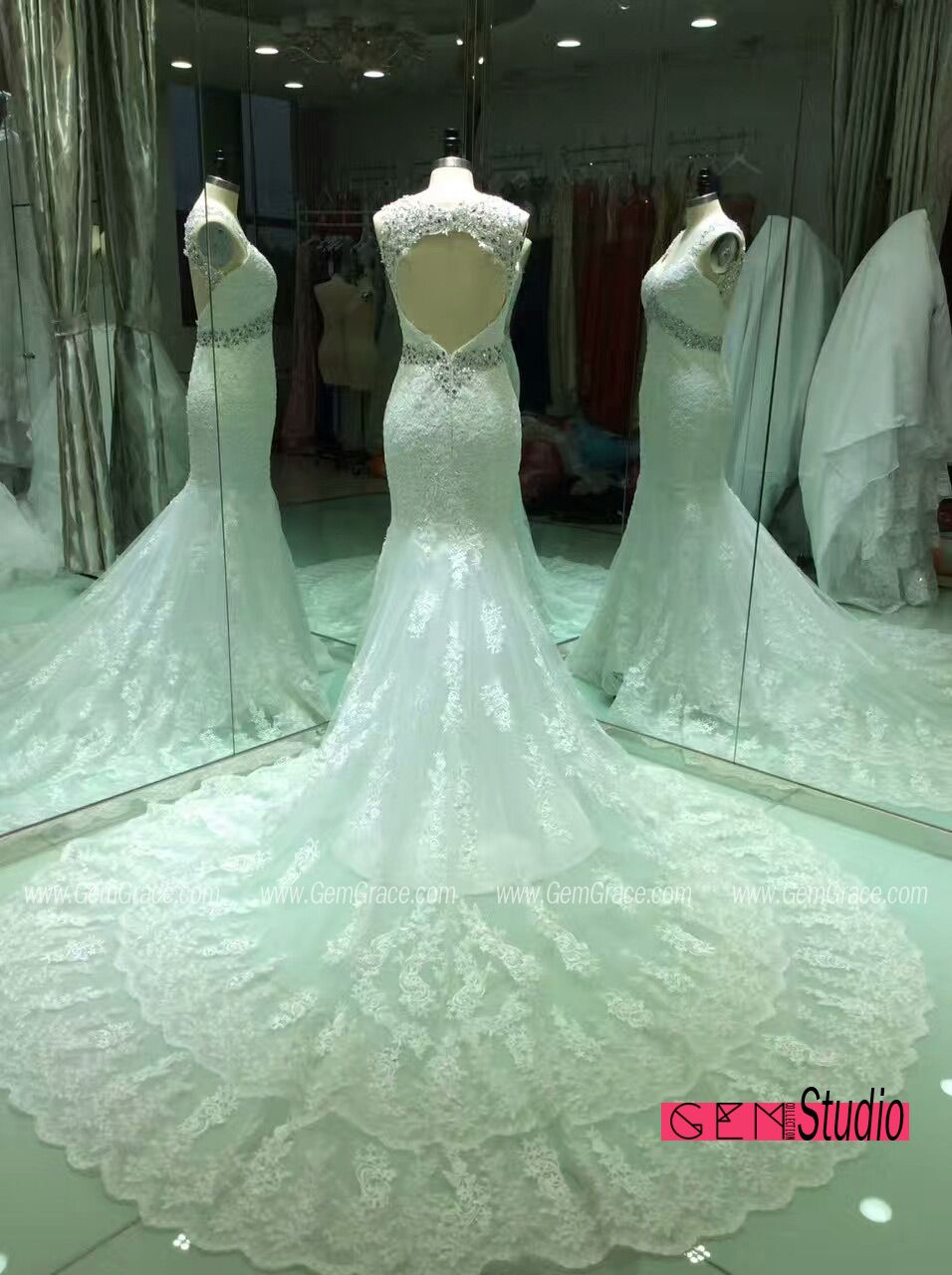 Lace wedding dress open back mermaid  Custom mermaid lace wedding dress with open back weddingdress by