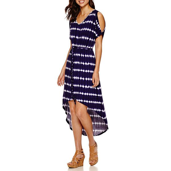 6c696cb147 a.n.a® Short-Sleeve Tie-Dyed Cold-Shoulder Maxi Dress - JCPenney ...