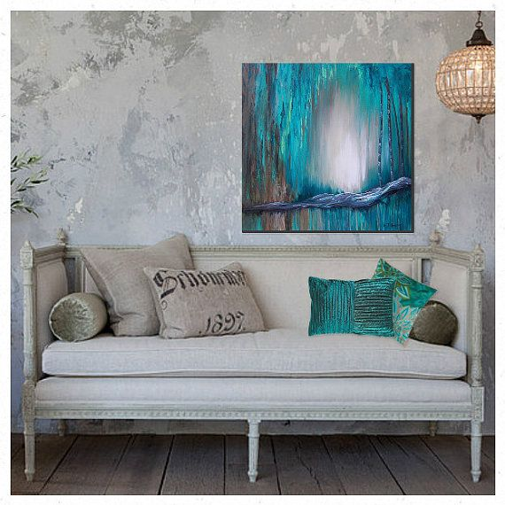 large wall art canvas turquoise abstract painting teal