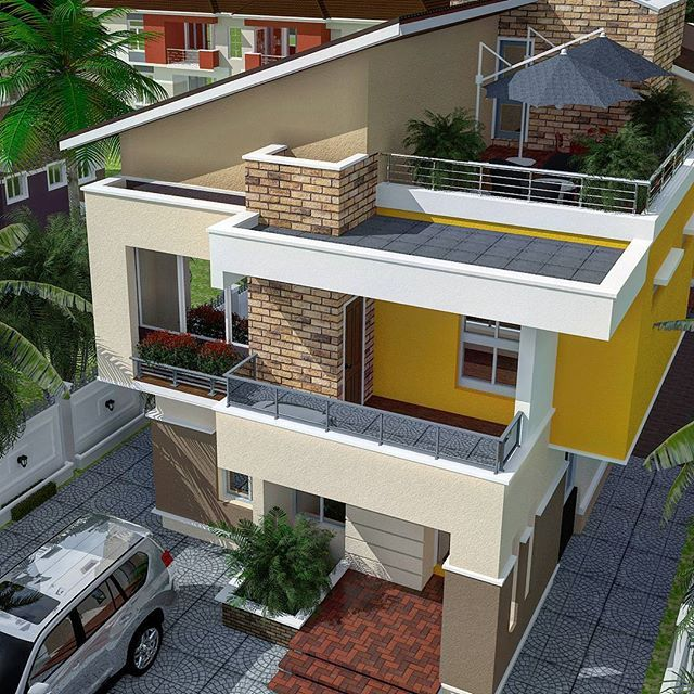 Use roof terrace and pool design for bungalow kachi for Bungalow house design with terrace