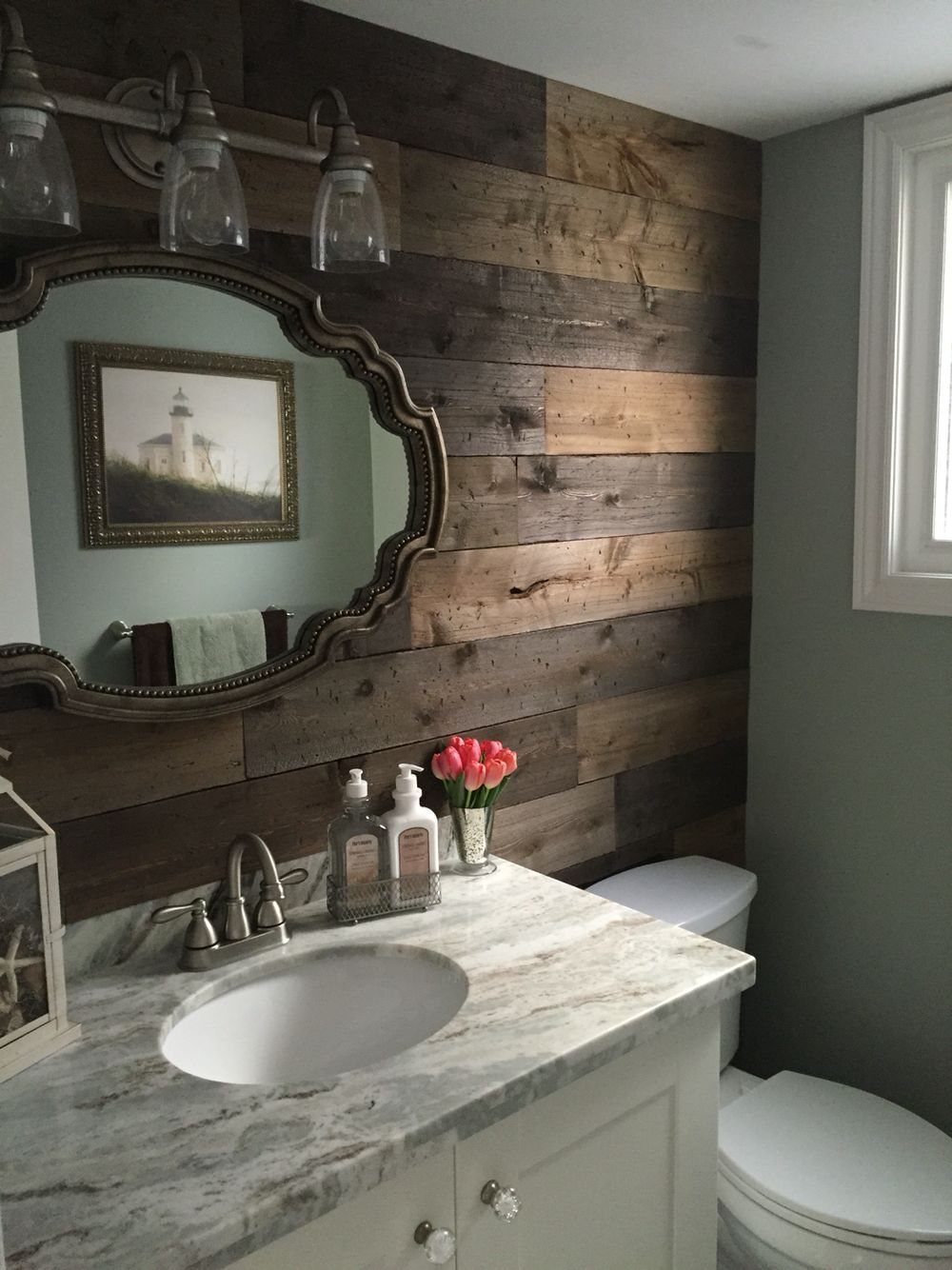 Diy barnboard with a rustic cottage theme i think i for Green and brown bathroom set