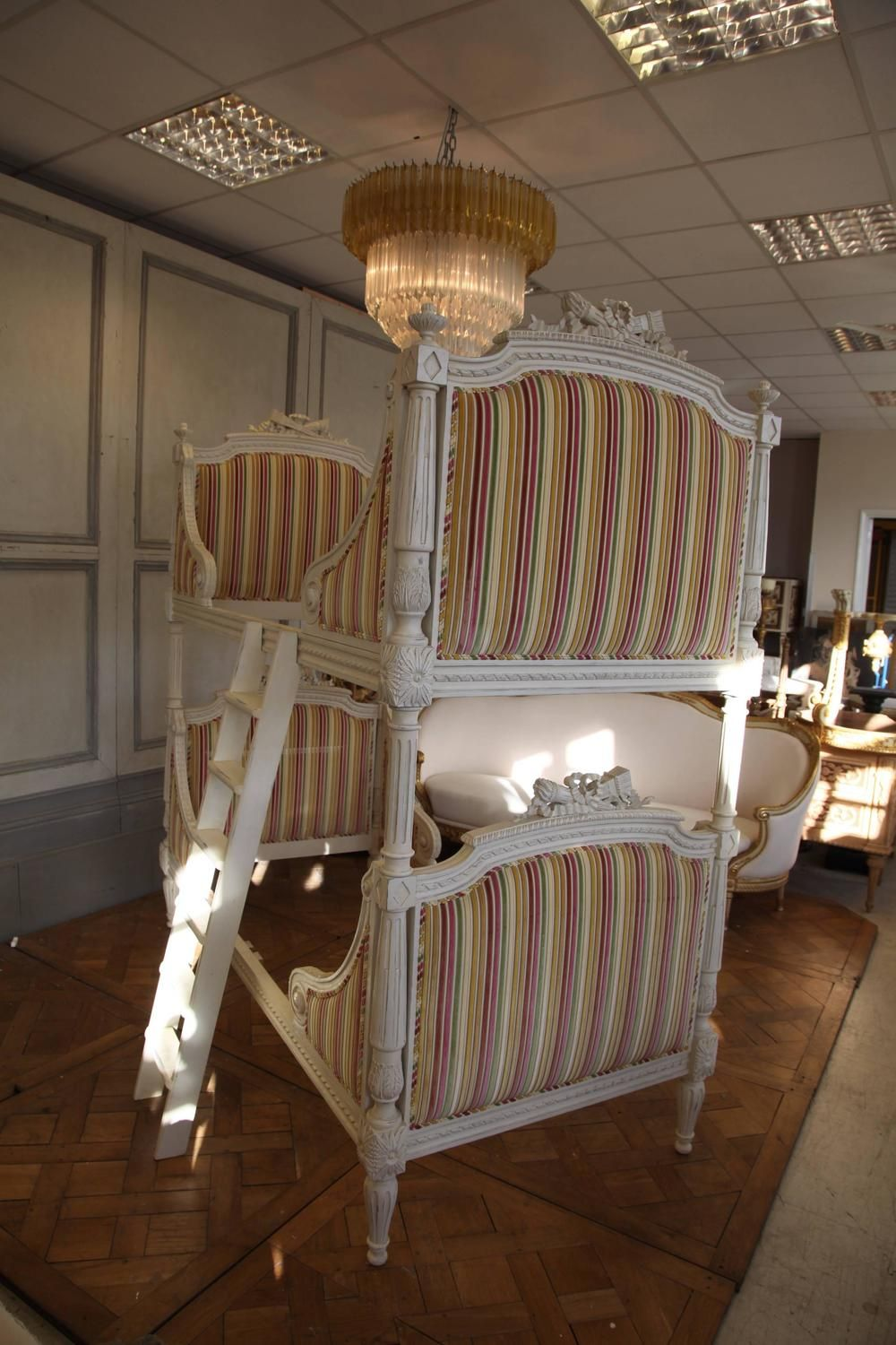 Louis XVI Style Bunk Beds/Matching Pair of Single Beds ...