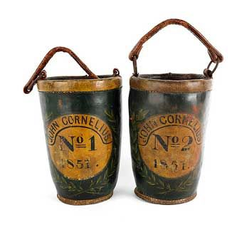 Antique Fire Bucket For Sale Pair Of Painted Leather Fire Buckets Inscribed John Cornelius Mo 1 Painting Leather Antiques Firefighter Accessories