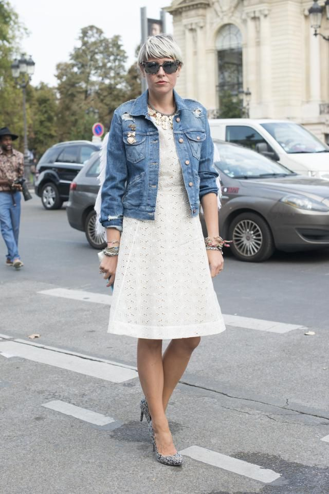 7 Transitional Weather Outfits With a Jean Jacket | Lace, Little ...