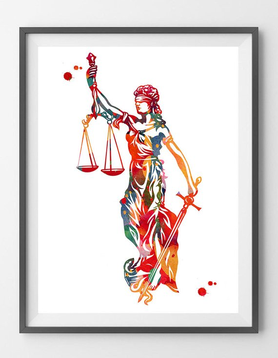 Lady Justice Art Print Justice Symbol Watercolor Law Corporate Art Themis Greek Goddess Of Justice With Blindfold Sword Balance Lady Justice Corporate Art Justice Symbol