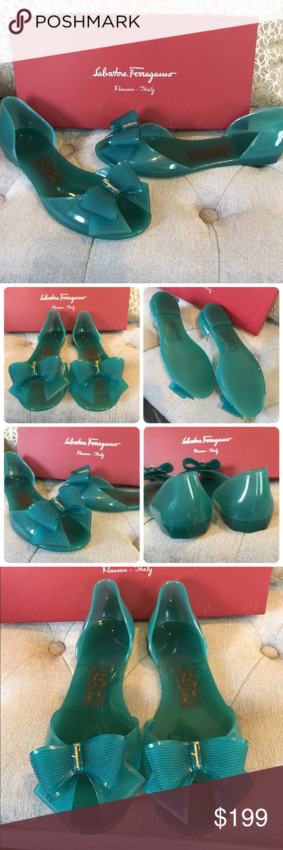 Ferragamo Teal Barbados Jelly Bow Flats US 8 Authentic Salvatore Ferragamo Barbados cut out jelly bow flats. Excellent condition with box. Ferragamo is in gold on the bow. EU sz 38 and fits true to size US 8. Minimal signs of use. Salvatore Ferragamo Shoes Sandals