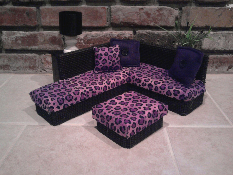 Dollhouse Miniature Sectional Sofa Sofas Austin Furniture For Barbie Or Monste High Dolls Purple Leopard