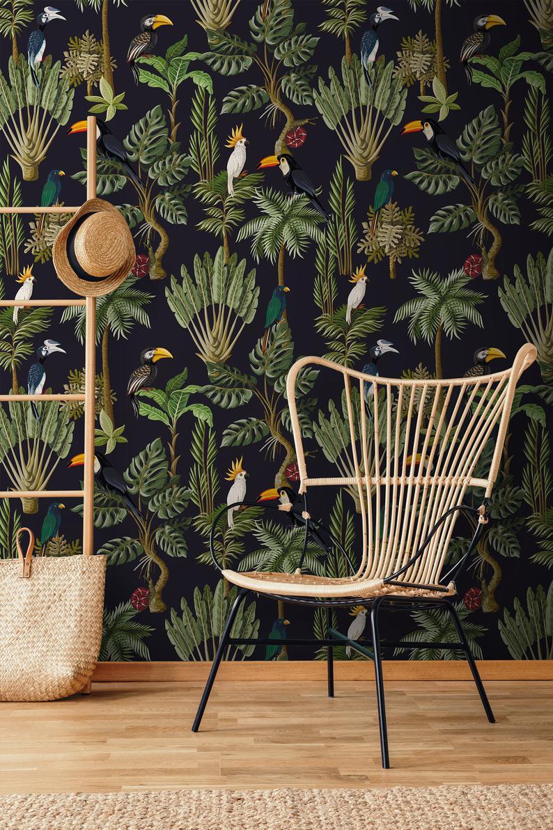 Jungle Animals Retro Wallpaper Peel And Stick Wallpaper Etsy Retro Wallpaper Removable Wallpaper Peel And Stick Wallpaper