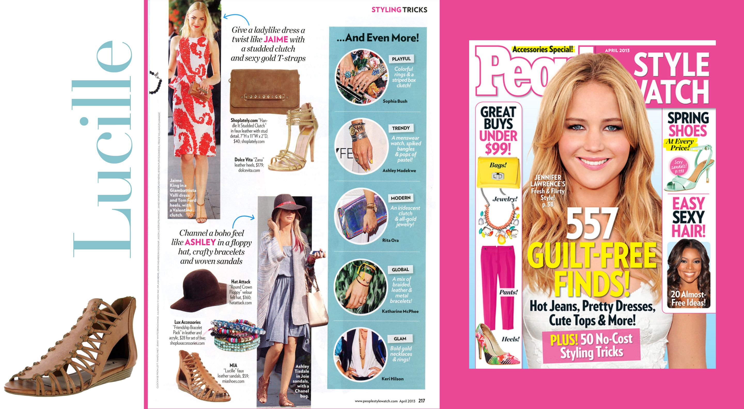 21c571828e85 People Style Watch April issue featuring Lucille sandal from Mia Shoes.  Shop the Lucille here
