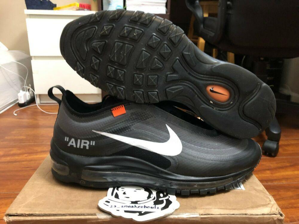 Ebay Sponsored Nike Air Max 97 Off White Black Aj4585 001 Size 9 5 100 Authentic Nike Air Max Nike Air Max 97 Nike Casual Shoes