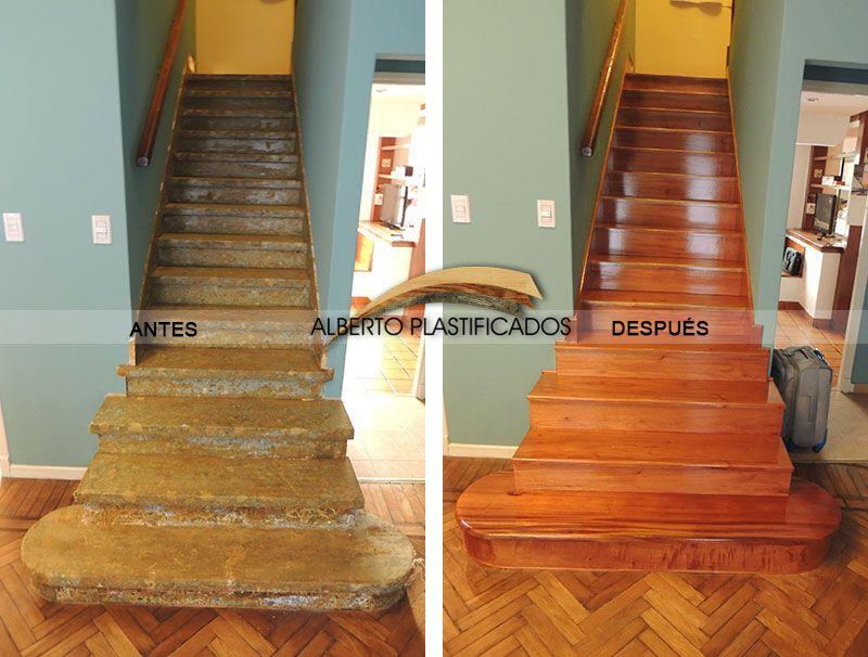 de escalera con madera de cedro