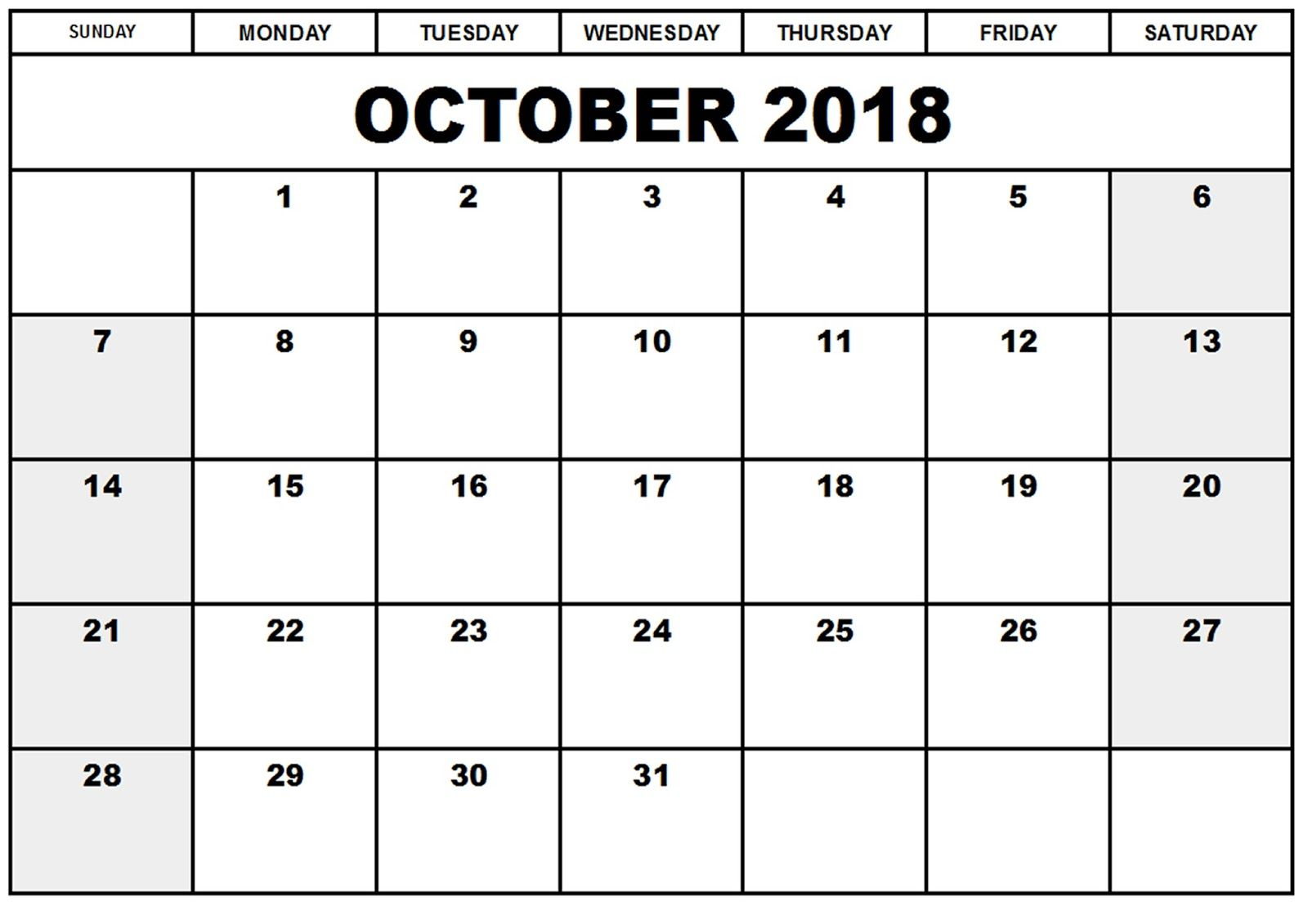 October  Printable Calendar Templates  Calendar