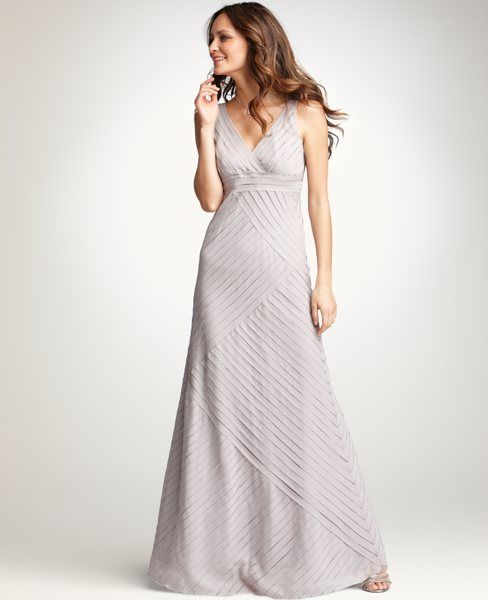Silk Strips V-Neck Gown, in a simply stunning light grey. @Ann ...