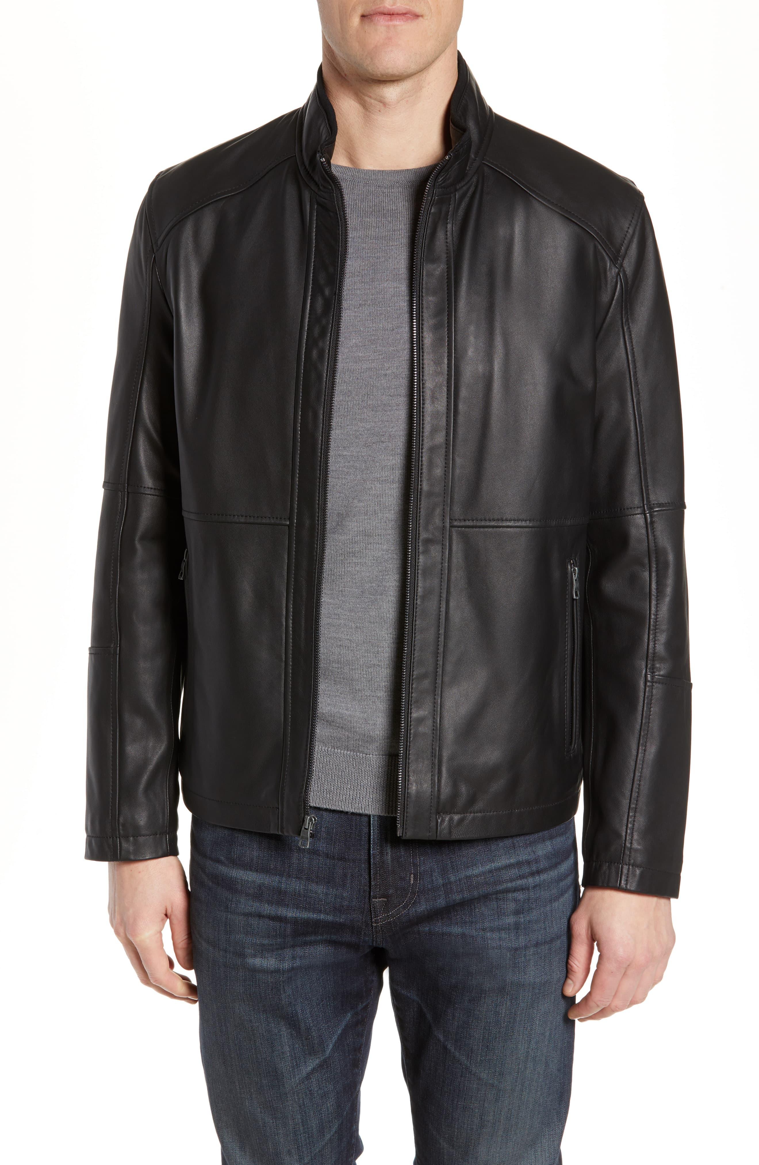 Men's Andrew Marc Wiley Lambskin Leather Jacket, Size