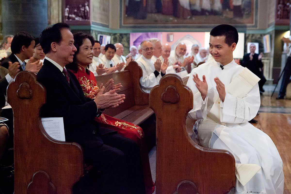 Paulist Fr. Dat Tran joining the acknowledgement for his