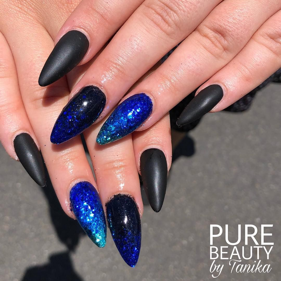 Matte Black Nails With Some Glitter Fade Nails Acrylic Acrylicnails Brisbane Brisbane Glitter Fade Nails Matte Black Nails Blue Acrylic Nails