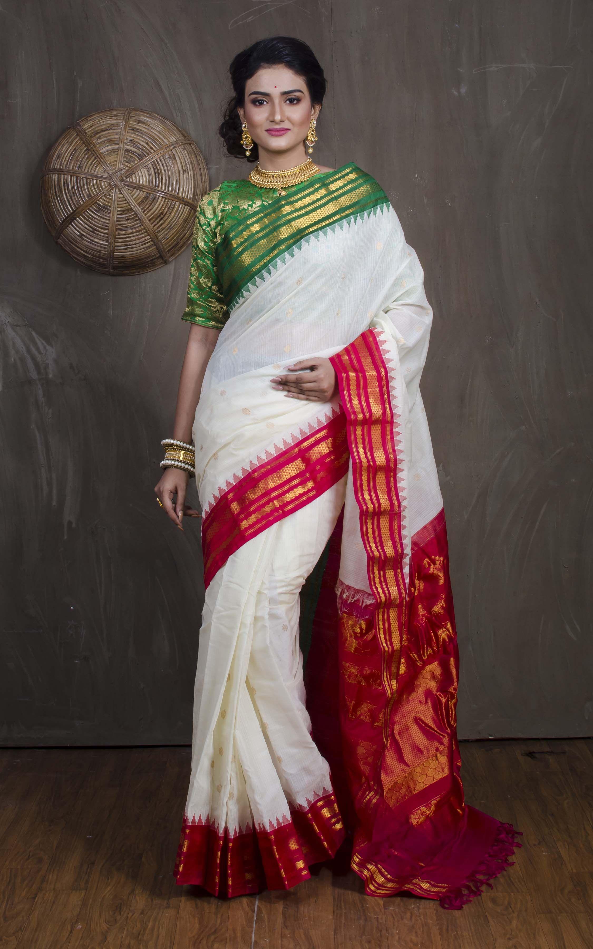 4e69f47c66 Premium Quality Silk Cotton Gadwal Saree in White, Red and Green ...
