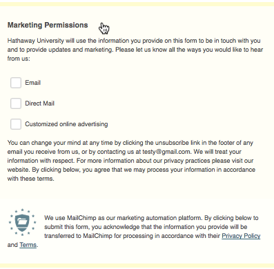 Collect Consent With Gdpr Forms Mailchimp Email Marketing