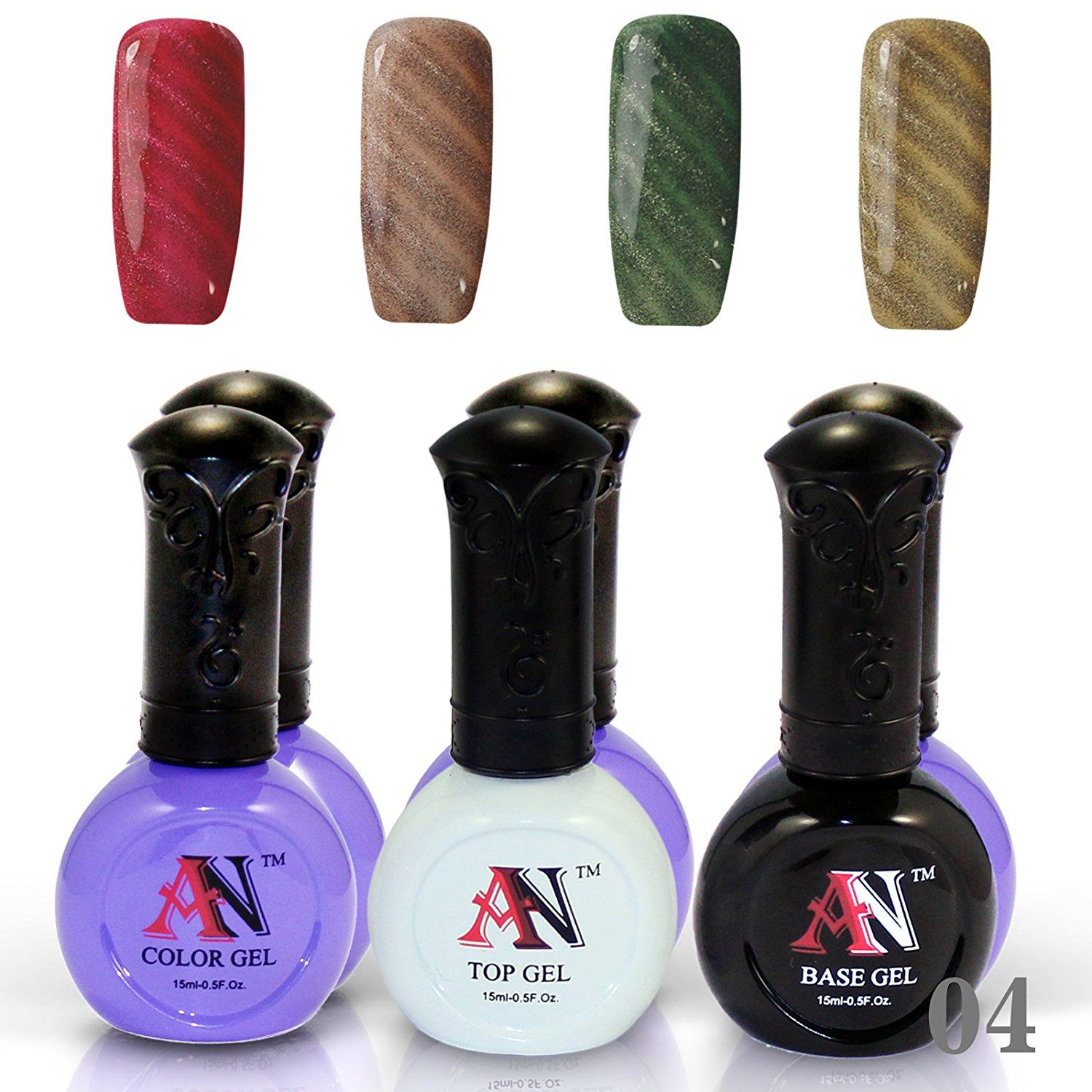 4 Pcs Magnetic Gel Nail Polish Top Coat And Base Coat Magnetic Rod Stick -4 *** Continue to the product at the image link.
