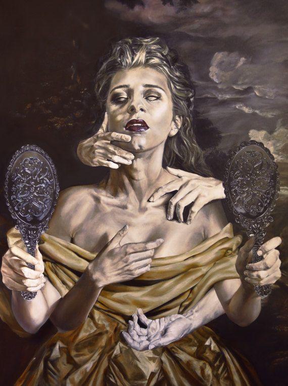 Vampire Classical Portrait Dark Surrealism Oil Painting Fine Art Print 8 5 X 11 Vampire Art Art Surreal Art