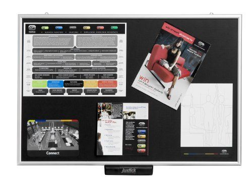 Justick JL-500 Justick Lite Electro Adhesion Bulletin Board, standard aluminum frame, 24 x 36 inches, Black