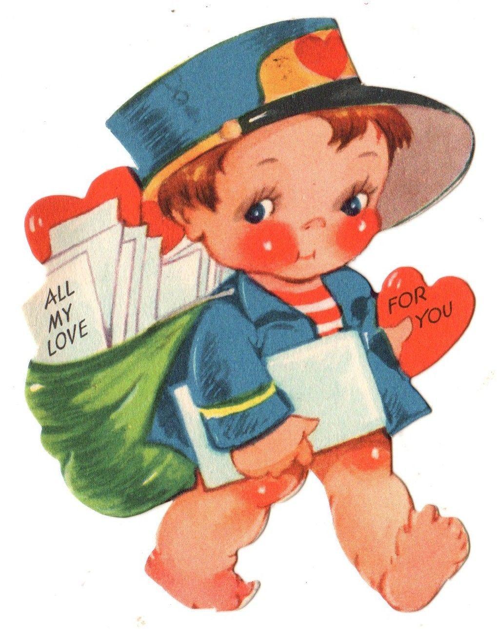 JG Scott Valentine Cute Mailman Delivering Love Letters Postman Vintage Card | eBay