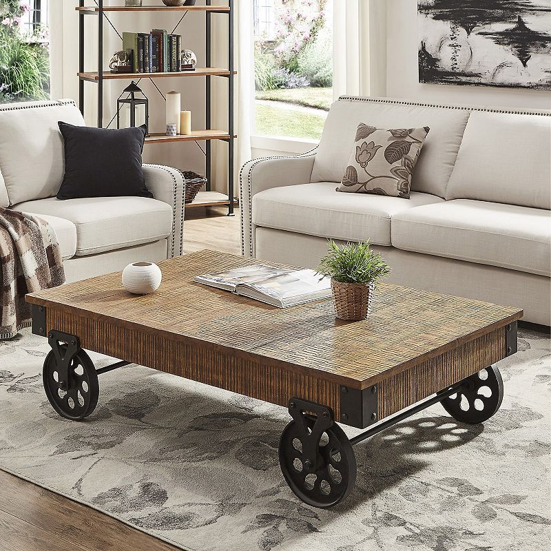 Homevance Derry Industrial Coffee Table Table Coffee Table With Wheels Home Decor