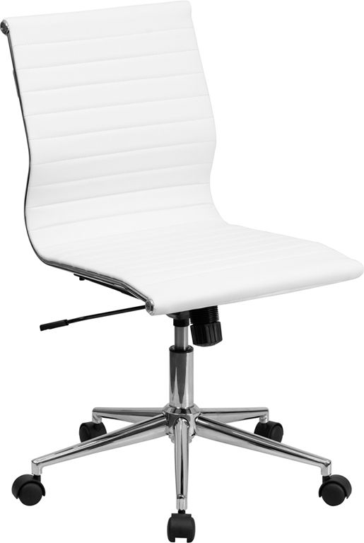 Mid Back Armless White Ribbed Upholstered Leather Conference Chair Bt 9836m 2 Wh Gg By Flash Fur Adjustable Office Chair Modern Office Chair Conference Chairs
